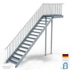 steinhaus treppen außentreppe stahl mit 16 steigungen 100 cm stufenweite mit podest