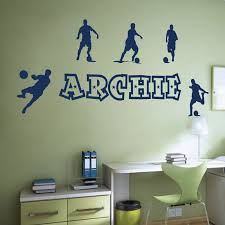 wall designer wall art stickers personalised name boys wall art sticker football soccer theme
