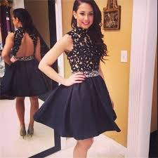 cheap graduation dresses for 8th grade lace top black homecoming dresses 2016 high neck lace taffeta