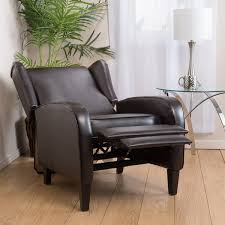 carter wing back bonded leather recliner chair by christopher