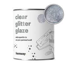 hemway clear glitter paint glaze silver 1l quart for pre