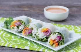 rice paper wrap thai salad rolls with peanut dipping sauce