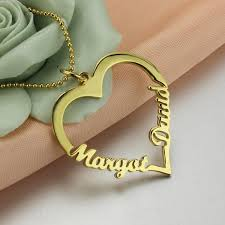 name gold necklace gold color customized heart name necklace couples heart pendant with