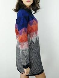 sweater dresses colorful one size ombre knitted argyle sweater