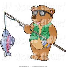 sports clip art of a bear holding a fish on a fishing pole by