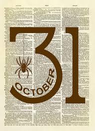 october 31 halloween dictionary art print dictionary art and