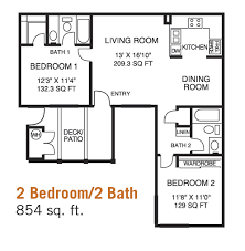 two bedroom two bath floor plans the plaza