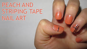 peach and striping tape nail art youtube