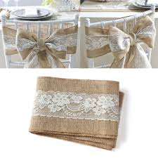 wedding chair bows 100pcs pack burlap chair sash with lace 6 x94 stitched edge