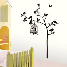 Wall Stickers Trees Only Us 5 49 Swallow Singing Tree Birdcage Diy Wall Stickers