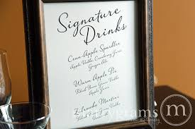 wedding bar menu template wedding reception signature drink signs custom diagonal style