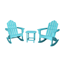 Hanover Patio Furniture Hanover 3 Piece Adirondack Rocking Chair Set With 2 Adirondack