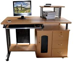 brown wooden computer desk with printer shelf with drawers of nice