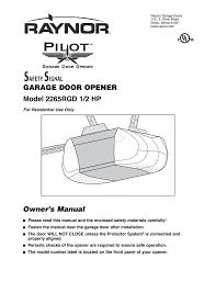 Overhead Door Ri by Raynor Pilot Garage Door Opener Wageuzi