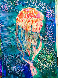 smart class april showers and jellyfish watercolor resist