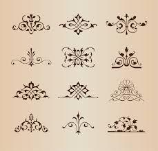 set of vintage floral ornament elements vector illustration free