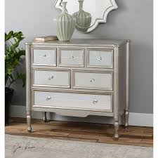 accent furniture rayvon antique silver mirrored accent chest uttermost chests