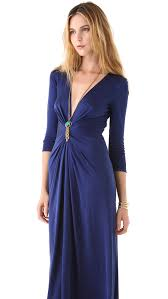 issa v neck long sleeve gown in blue lyst