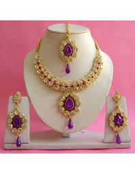 purple gold necklace images Purple gold plated with zirconic stone studded necklace set jpg