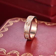 cartier love rings images Cartier love ring au750 18k rose gold pave diamond wedding band jpg
