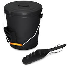 amazon com black ash bucket with lid and shovel for fireplace