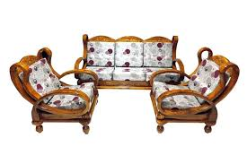 Vivid Solid Wooden Curvy Sofa Set Premium Teak - Teak wood sofa set designs