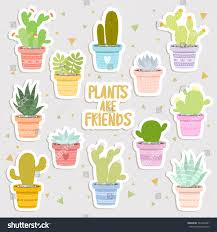 big set cute cartoon cactus succulents stock vector 543240361