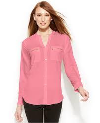 calvin klein blouses lyst calvin klein zip pocket utility blouse in pink