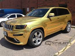 jeep grand cherokee vinyl wrap gold chrome jeep grand cherokee srt 8 vehicle customization shop