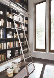 Rolling Ladder Bookcase Contemporary Living Room Design Ideas With Library And Solid Wood
