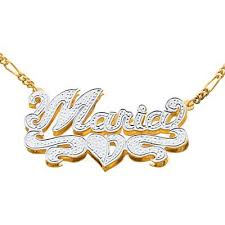 Nameplate Necklace Double Plated Fingerhut 18k Gold Plated Silver 3d Name Plate Necklace