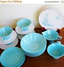 vintage melmac lunch set aztec melamine plates bowls abstract