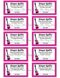 printable pink rock and roll guitar diaper raffle tickets bee