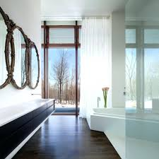unique bathroom mirrors in modern with floor to ceiling windows
