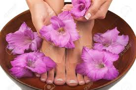Beautiful Flowers Image Pedicure And Manicure Spa With Beautiful Flowers Stock Photo