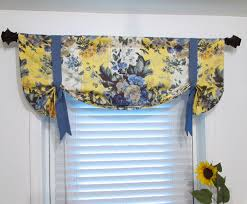 Yellow Valance Curtains Floral Tie Up Lined Valance Yellow Blue Custom Sizing
