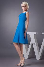 blue knee length a line chiffon cocktail graduation dresses