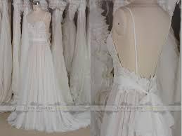 boho bohemian backless lace tulle wedding dress fairly lace tulle