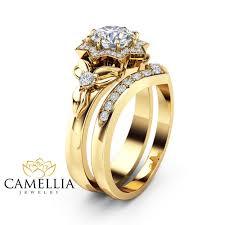 flower rings images Natural diamond engagement ring set 14k yellow gold flower rings jpg