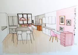 dessiner en perspective une cuisine maison dessin architecte interieur