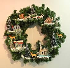 found in ithaca wreath with vintage houses trees