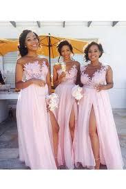 pink lace appliques chiffon wedding guest dresses bridesmaid