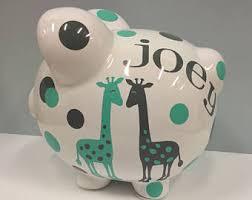 Customized Piggy Bank Giraffe Piggy Bank Etsy