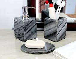 Gray Bathroom Accessories Set by Amazon Com Kleo Bathroom Accessory Set Made From Natural Grey