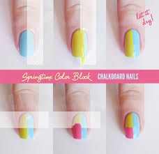 easy step by step color block nail tutorials