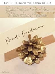 diy wedding decor gold pine cone place card holders