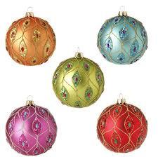 raz ornament delight 4 inch glittered ornaments set of 5