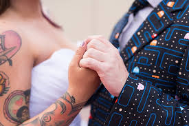 this pop culture wedding wins all with a pac man suit