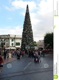 disneyland christmas tree on main street editorial stock photo