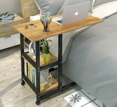 desk with shelves on side supreme sofa bed side table laptop desk with shelves wheels